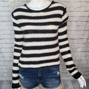 Free People Black and White Crop Sweater